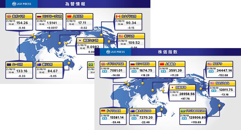 世界地図で見る金融情報